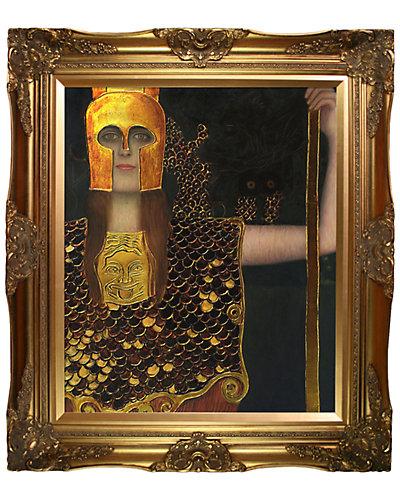 Pallas Athene, Metallic Embellished by Gustav Klimt Framed Hand Painted Oil Reproduction