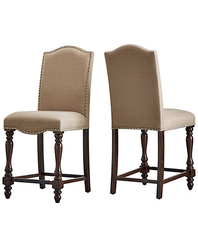 Set of 2 Nailhead Counter Height Chairs