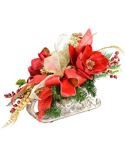 Bright Red Magnolias Arranged In A Sleigh