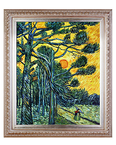Pine Trees against a Red Sky with Setting sun by Vincent Van Gogh Oil Reproduction