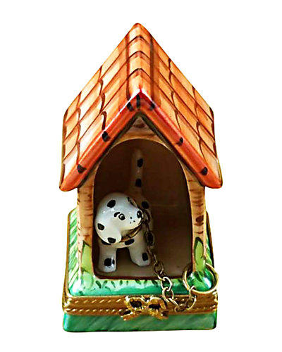 Rochard Limoges Dalmatian with Dog House
