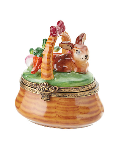Rochard Limoges Bunny in Basket with Carrots