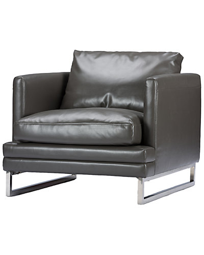 Dakota Pewter Gray Leather Modern Chair