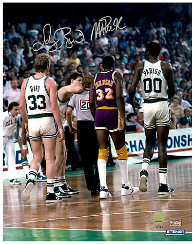 Magic Johnson and Larry Bird On Court Dual Signed Photo