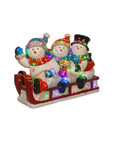 2.4ft Sledding with 3 Snowmen with 48 Multi LED Lights