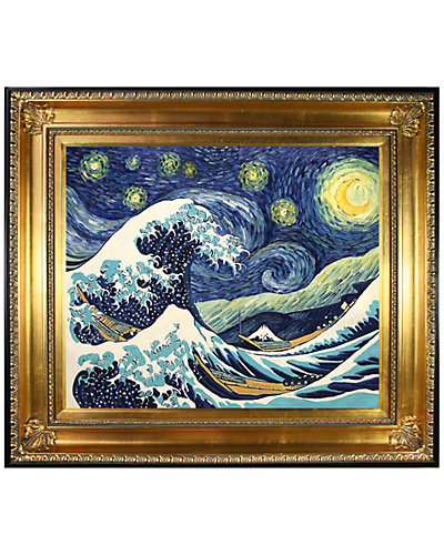Starry Night Wave Collage by Vincent Van Gogh Oil Reproduction