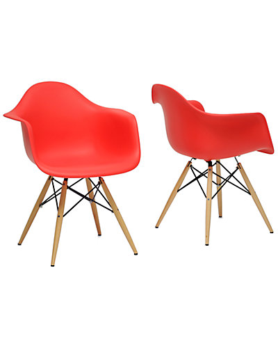 Set of Two Pascal Red plastic Mid-Century Modern Shell Chair