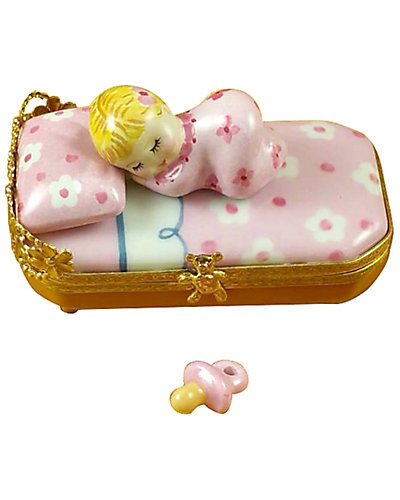 Rochard Limoges Baby In Bed With Pacifier Figurine