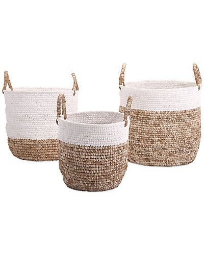 3pc Shoelace and Raffia Woven Baskets