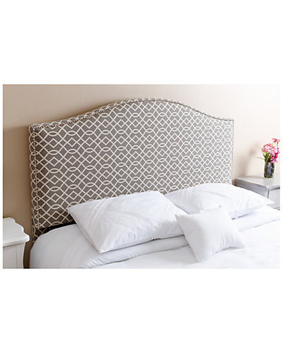 Sophia Nailhead-Trim Grey and White Patterned Linen Full/Queen Headboard