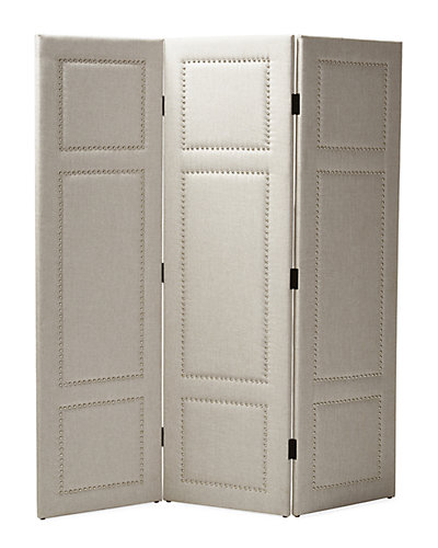Rochelle 3-Panel Upholstered Decorative Folding Screen with Nail Pattern