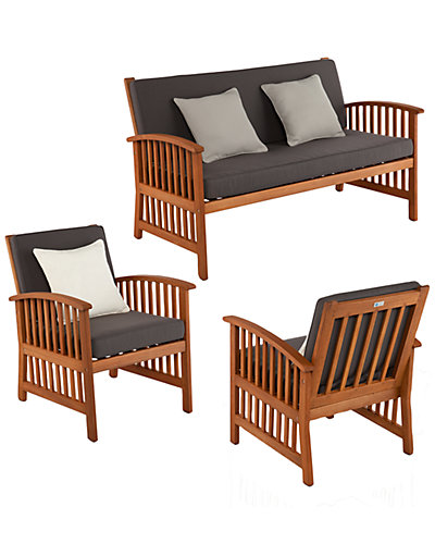 Catania Outdoor Deep Seating 3pc Set