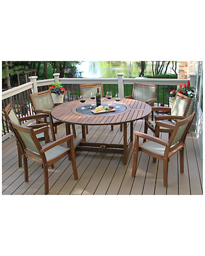 9pc Grande Dining Set with Built-in Lazy Susan