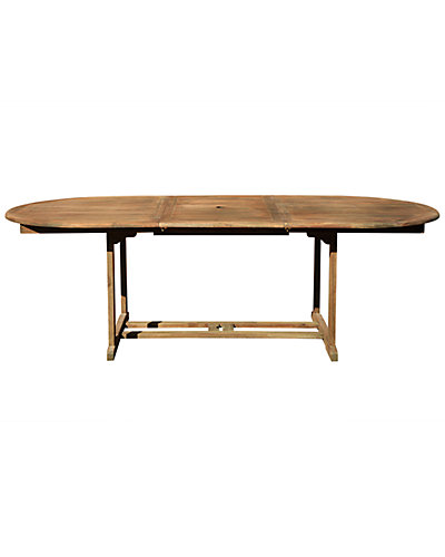 Renaissance Eco-friendly Outdoor Hand-Scraped Oval Extension Garden Table