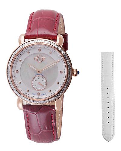 GV2 by Gevril Women's Marsala Sub Eye Diamond Watch with Interchangeable Strap