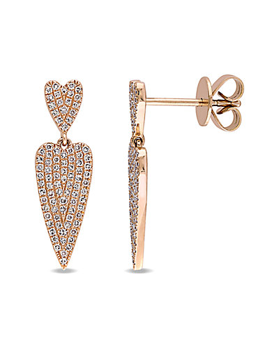 14K Rose Gold 0.69 ct. tw. Diamond Elongated Heart Earrings
