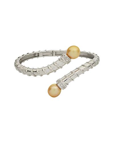 Silver Topaz & 10-11mm South Sea Pearl Bracelet