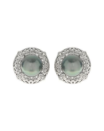 14K 0.11 ct. tw. Diamond & 8-9mm Tahitian Pearl Earrings