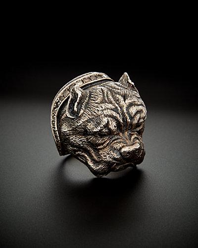 Scott Kay Silver 0.98 ct. tw. Brown Diamond & Black Spinel Men's Pitbull Ring