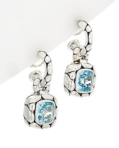 John Hardy Kali Silver Blue Topaz Hoop Earrings