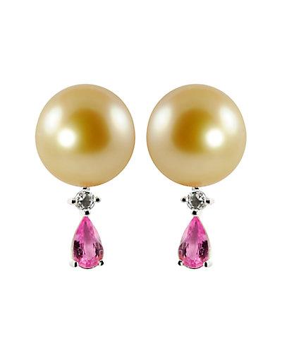 Silver Topaz, Sapphire & 9-10mm South Sea Pearl Earrings