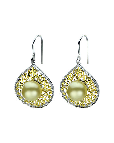 14K Plated 9-10mm South Sea Pearl Earrings