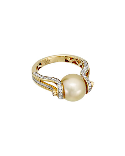 TARA Pearls 18K 0.49 ct. Diamond & 10-11mm South Sea Pearl Ring