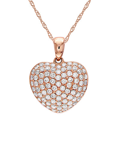 14K Rose Gold 0.50 ct. tw. Diamond Heart Necklace