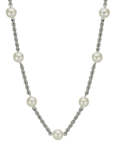 14K 6-6.5mm Cultured Freshwater Pearl Station Necklace