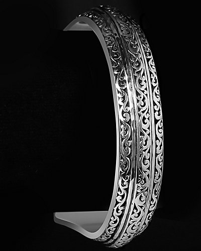 Lois Hill Fan Collection Silver Hammered Cut-Out Cuff