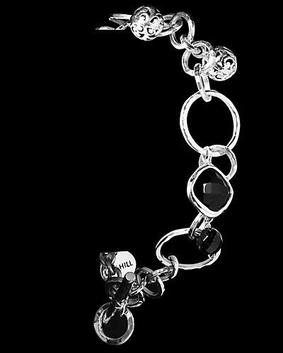Lois Hill Signature Scroll Silver Onyx Charm Toggle Bracelet