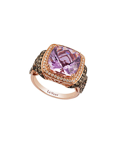 Le Vian 14K Rose Gold 6.9 ct. tw. White & Chocolate Diamond & Amethyst Ring