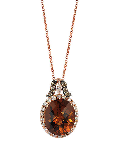 Le Vian 14K Rose Gold 4.18 ct. tw. White & Chocolate Diamond & Quartz Necklace