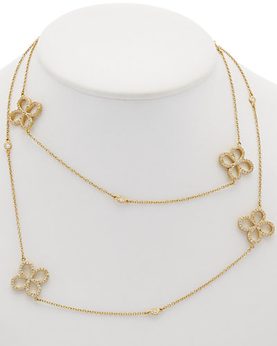 Freida Rothman 14K Plated CZ Clover Station 36in Wrap Necklace