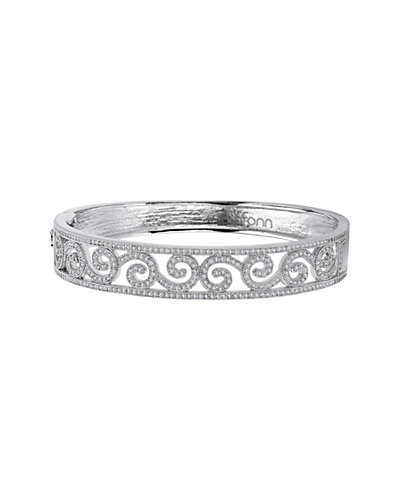 Lafonn Platinum over Silver Simulated Diamond Filigree Swirl Bracelet