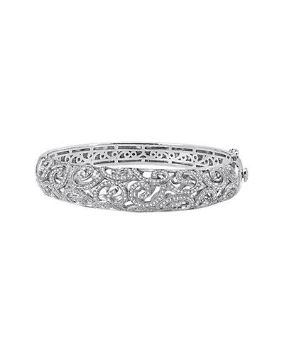 Lafonn Platinum over Silver Simulated Diamond Demi Filigree Bracelet