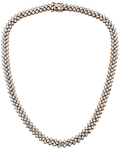 Genevive 14K Rose Gold over Silver CZ Multi-Row Necklace