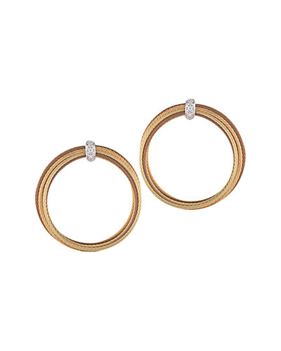 ALOR Classique 18K & Stainless Steel Diamond Cable Earrings