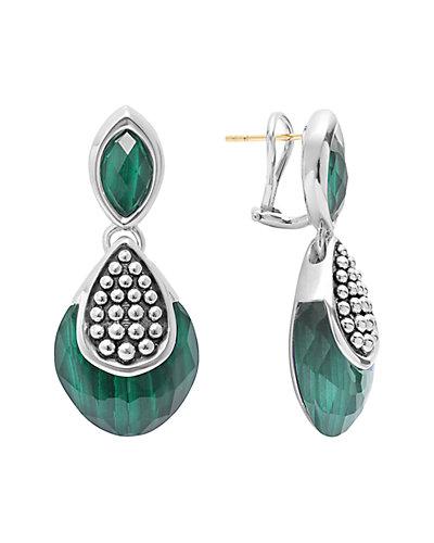 LAGOS Maya Silver Malachite Doublet Drop Earrings