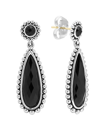 LAGOS Maya Silver Onyx Doublet Drop Earrings