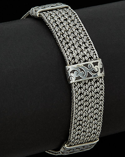 Lois Hill Classic Silver Woven Toggle Bracelet