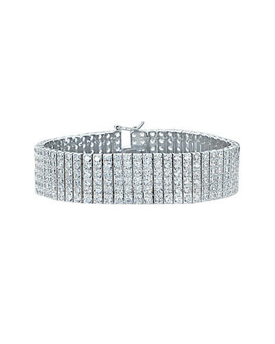 Genevive 14K over Silver CZ Mesh Bracelet