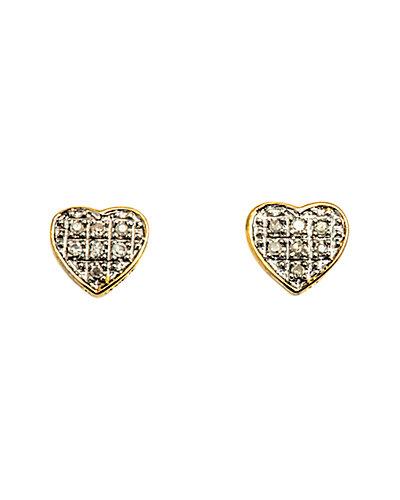 Jewels by Lori Kassin 10K Diamond Heart Studs