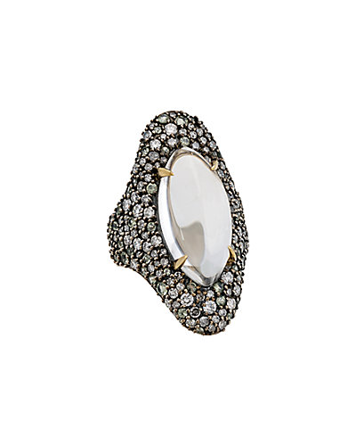 Alexis Bittar Silver Clear Quartz, Sapphire & Diamond Ring
