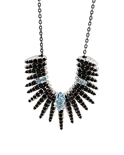 Alexis Bittar Silver Midnight Quartz & Black Spinel Necklace