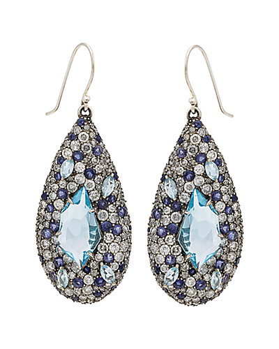 Alexis Bittar Marquis Silver Sapphire & Diamond Earrings