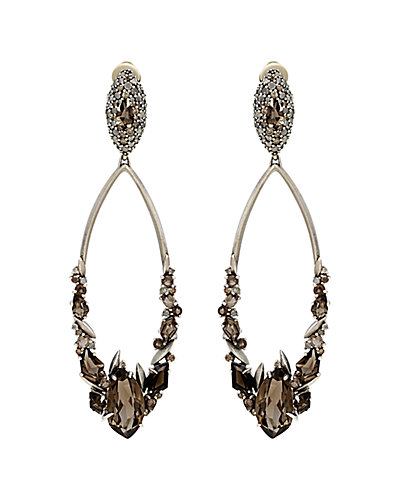 Alexis Bittar Marquis Silver Smoky Quartz & Diamond Earrings