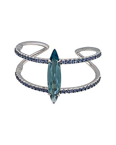 Alexis Bittar Marquis Silver Blue Sapphire & Quartz Cuff