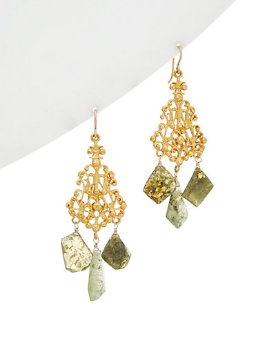 Devon Leigh 18K Plated Green Garnet Chandelier Earrings