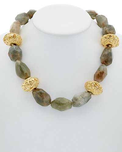 Devon Leigh 18K Plated Lodolite Filigree Necklace